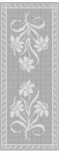Filet Crochet Daffodil Table Runner