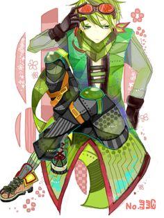 Flygon Gijinka Deportista Militar Gafas Cabello Verde Ojos Verdes Chaleco Camisa Pantalones Capa Zapatillas Deportivas Verde Pañuelo en el Cuello Pokemon Anime