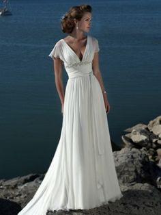 White Imperium V-Ringad Court Släp Chiffong Wedding Dresses för 8472kr