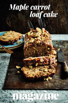 Although maple syrup and dates still count as sources of sugar in nutritional terms, this moist maple carrot loaf cake recipe is lower in sugar than a traditional carrot cake Carrot Loaf, Carrot Cakes, Salty Cake, Loaf Cake, Cake Servings, Savoury Cake, Mini Cakes, Clean Eating Snacks, Tray Bakes