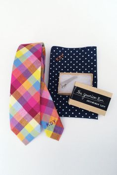 Monogrammed ties and pocket squares from Grunion (plus a discount): http://www.stylemepretty.com/2015/03/25/pretty-picks-for-your-wedding-party-giveaways/