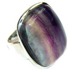 $79.15 Ocean Melody! Purple Fluorite Sterling Silver Ring s. 8 at www.SilverRushStyle.com #ring #handmade #jewelry #silver #fluorite