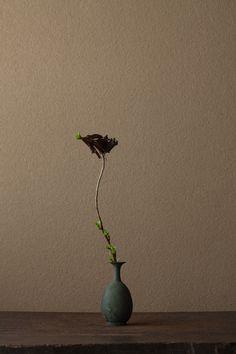 2012年4月5日(木)   若緑の芽が一気に駆けのぼるようです。   花=吹上菊(フキアゲギク)   器=青銅王子形水瓶(六朝時代)