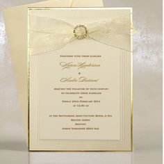 Cream Wedding Invitation Cards UK - Creme Deluxe - WeddingSOON