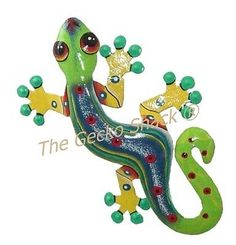 Large Gecko Blue Green Metal Recycled Art Wall Decor Great for Deck Patio Hang inside or out! Beach Cartoon, Alfresco Area, Recycled Art, Wall Sculptures, Wall Art Decor, Blue Green, Recycling, Deck Patio, Disney Characters