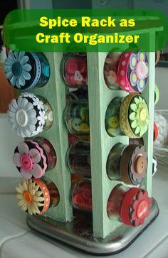 Spice Rack as Craft Organizer
