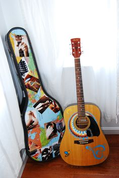 This is an Ibanez Guitar and case that I decorated for my boyfriend