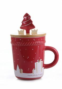 Price:$25.99 Material: Ceramics Color: Rose Red Festive Lovers Christmas Trees Gift Stars Cover Colorful Spoon Mug Cup