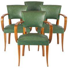 Set of Four French 1940s Bridge Armchairs