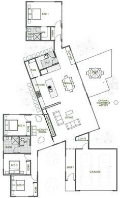 A Green Homes design is always of the highest quality. The Bond energy efficient home design is one of many quality driven houses we have on offer. Most Energy Efficient Floor Plans Dream House Plans, Small House Plans, House Floor Plans, Best House Plans, Greenhouse Kits For Sale, Greenhouse Plans, Large Greenhouse, Green House Design, Modern House Design