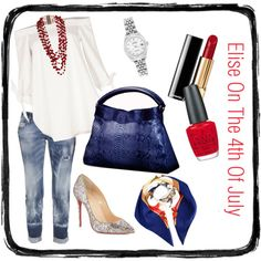 Elise On The 4th Of July   Would you wear this? A boho chic ensemble of red, white, and blue for the 4th of July.   Styled around our oversized blue python Elise hobo, this outfit of jeans and off-the-shoulder white shirt accessorized with red accents gives a casual elegance to any independence celebration. Tie the scarf on the Elise for a carefree feel.   A great look for the yummy mummy who wants to look great but be comfortable or the woman who'll mingle at several parties the same day.