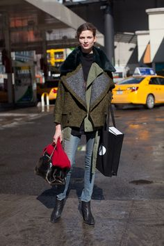 Street Style  Bette Frank balances an oversized coat with skinnies.