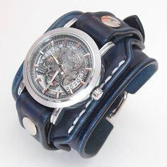 Pánske hodinky, modrý kožený remienok s venovaním