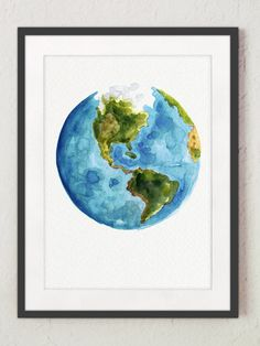 Watercolor World Map Painting Gift Idea. Abstract Globe Art Print Blue Green Yellow and White Planet Earth Illustration. North America Map.