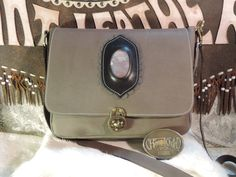 Large satchel with large inlayed stone Applique hand made leather from the USA by RoundOakLeather on Etsy