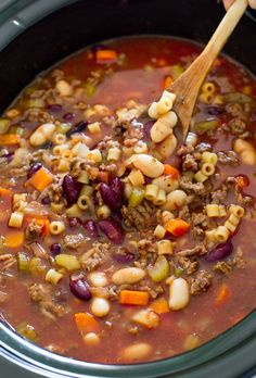 Super Easy Slow Cooker Pasta e Fagioli Soup. Rich, hearty and loaded with veggies and meat. A perfect, comforting soup for Fall! Hi guys! It's Kelley back from Chef Savvy! Today I am sharing one of my favorite soups: Pasta e Fagioli. This is comfort food at it's best.  Super hearty, meaty, thick Italian soup loaded with veggies, meat …