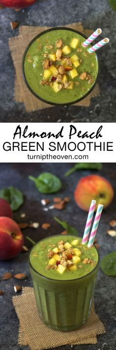 This gluten-free, vegan almond peach green smoothie is a delicious way to pack more healthy fruits and veggies into your breakfast!
