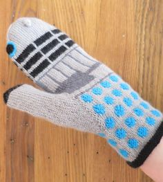 Free Knitting Pattern for Dalek Mittens - Mittens inspired by Doctor Who's nemesis. Designed by Kat Lewinski