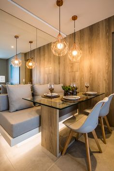 Claudia Albertini Arquitetos Associados Small Apartment Interior, Home Interior Design, Dining Room Design, Kitchen Design, Luxury Dining Room, Kitchen Modular, Dinner Room, Home Living Room, Home Furniture