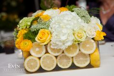 Wedding Centerpieces with Lemons and Yellow & White Flowers