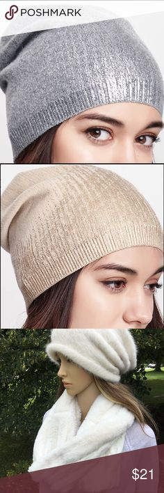 """🌸HP🌸SOFT GRAY AND SILVER LADIES BEANIE Soft, Classic ladies beanie. (More info in lower description) Gray soft knit beanie with a silver inlay on the front and sides. Classic style with extra material at the back of the hat.  More photos coming. Also available in gold and cream. Very pretty💕 cream furry beanie is a """"classic"""" style boutique Accessories Hats"""