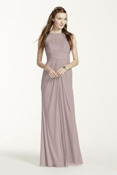 Simply elegant in design, your bridal party will look exceptional in this long mesh dress!  Sleeveless bodice