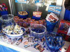 Baseball themed candy bar for boy's birthday. Baseball Theme Birthday, Sports Themed Birthday Party, Baseball Party, Sports Party, Dodgers Party, Welcome Home Parties, Hot Dog Bar, Candy Buffet Tables, Sandlot