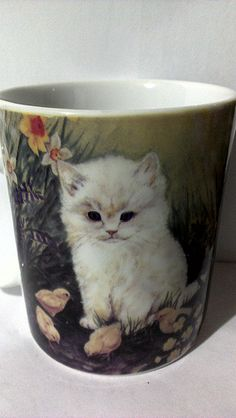 kittens - One Of Many Coffee Mugs I Have Collected Soup Mugs, Tea Mugs, Coffee Holder, Year Of The Rabbit, Cute Cups, Blue Pottery, Cat Mug, Coffee Cups, Kittens