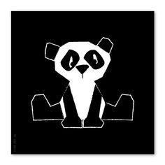 Poster Panda zwart-wit  21x21cm via www.HippeKidsKamer.nl