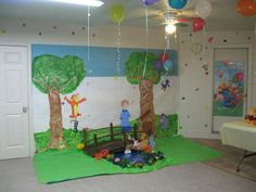 Winnie the pooh theme party. 100 acre woods Photo area