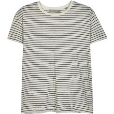 Vince Striped Pima cotton T-shirt ($105) ❤ liked on Polyvore featuring tops, t-shirts, stripe tee, striped t shirt, striped top, black and white t shirt and black and white stripe t shirt