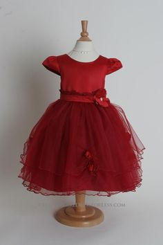 - Flower Girl Dress Style - Short Sleeved Satin and Tulle Dress with Floral Accents - Red - Flower Girl Dress For Less Red Flower Girl Dresses, Flower Girls, Girls Dresses, Beautiful Summer Dresses, Dresses For Less, Bridal Boutique, Tulle Dress, Little Princess, Dress For You