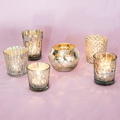 Best of Mercury Glass Tea Light Candle Holders (Antiqued Silver, Set of 6) - For Home Decor and Wedding Decorations | Luna Bazaar