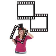 Club Pack of 12 Black Awards Party Cut Out Filmstrip Photo Fun Frames 12
