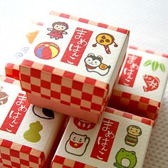 Mini mini Japanese gift stamp set by karaku*, via Flickr