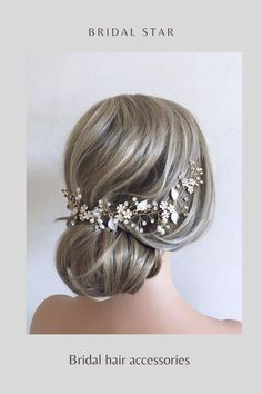 A bridal hair vine adds the perfect finishing touch to any wedding hairstyle, This beautiful crystal and pearl hair piece is available in gold or silver. As the headpiece piece is light and flexible it can be worn at the front , back or side of your hair and can be shaped and twisted with Bobby pins to suit any hairstyle. The wedding hair vine is 12 inchs long . Whether tucked into an updo, paired with a veil, or loosely holding back part of your hair this hair accessory works for every look. Bridal Hair Down, Wedding Hair Down, Bridal Hair Vine, Wedding Hairstyles For Long Hair, Bridal Hairstyles, Star Wedding, Bridal Veils, Wedding Hair Clips, Wedding Hair Pieces