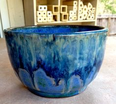 Dip Bowl by Linda Neubauer - Indigo Float 3 coats, Deep Firebrick (2 coats along rim), Coyote Gunmetal Green along rim