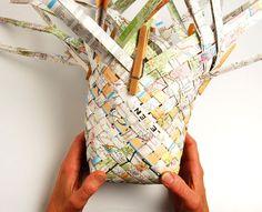 Woven map basket.