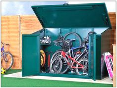The Asgard Access Bike Store is the ideal secure storage solution for your bikes and cycling equipment. Manufactured in the UK, the premium metal shed is designed with large double doors, and a gas lift lid for easy access. Bike Storage For 4 Bikes, Bicycle Storage Shed, Outdoor Bike Storage, Metal Storage Sheds, Metal Shed, Bike Shed, Outdoor Toys, Garage Storage, Scooter Storage
