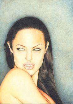 Color Pencil Art of Angelina Jolie, by Carlos Granja Robalino