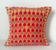 The Cancun Collection Embroidered Cotton Cushion by PinkIguanaCo, $50.00