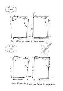 moldes para vestidinhos nos tamanhos 2, 4, 6, 8, 10 e 12.