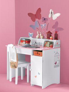 Biblioth que roulettes fille motifs fleurs et papillons vertbaudet enfant - Bureau vertbaudet fille ...