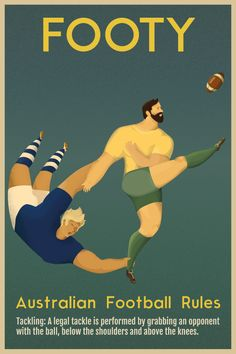 Vintage Poster on Behance Australia Rugby, Posters Australia, Retro Poster, Poster On, Vintage Travel Posters, Vintage Postcards, Rugby Pictures, Emoji Challenge, Rugby Poster