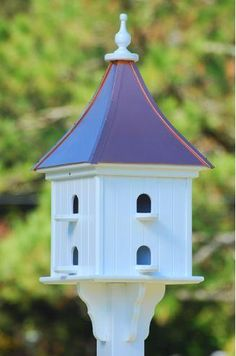 Copper Roof Martin House in Vinyl/PVC Compartments. Stately architectural Purple Martin Birdhouse lasts for life with little to no maintenance, for post Fancy Houses, Bird Houses, Purple Martin Birdhouse, Purple Martin House, Bluebird House, Bird House Plans, Copper Roof, Vinyl Siding, White Vinyl