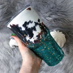 cow print and teal glitter tumbler- turquoise and rose gold ombre glitter- cow hide- cow skin glitter cup- country girl gift- southern Diy Tumblers, Custom Tumblers, Glitter Tumblers, Tumblr Cup, Girls Tumbler, Custom Cups, Glitter Cups, Girl Gifts, Cow Gifts