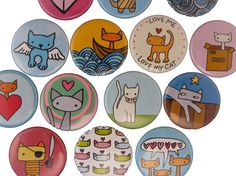 Cat Fancy  Pick your 4 Cat Magnets  by marmarsuperstar on Etsy