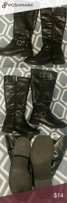 Kenneth Cole Reaction boots Tall black boots from Kenneth Cole Reaction. All man made materials. Zip closure on the inside leg. Kenneth Cole Reaction Shoes Combat & Moto Boots