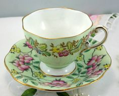 Foley Springdale China, lovely Duo Teacup & Saucer, English Bone China made in England. In good condition, no chips, no cracks or crazing. The saucer measures 5.2 (13.5cm) in diameter. The teacup D-3.2 (8cm), with the handle-4 (10cm) Th Height-2.6 (6.5cm)