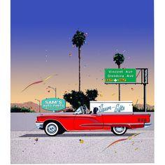 213. サムズ オート パーツ – GALLERY Landscape Illustration, Digital Illustration, Tumblr Art, Automotive Art, Naive Art, Aesthetic Stickers, Retro Cars, Aesthetic Vintage, Types Of Art